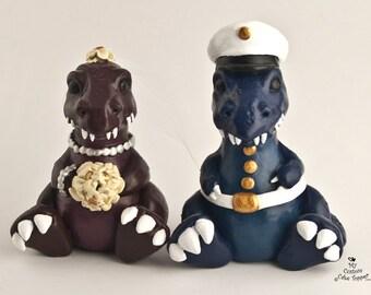 T-Rex Dinosaur Wedding Cake Topper Custom Bride and Groom