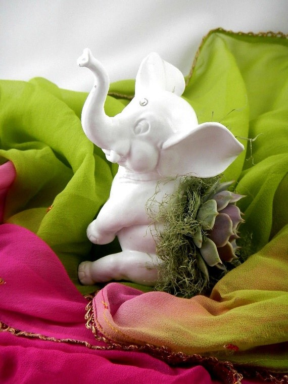 Succulent Planter Centerpiece - White Hindu Elephant Animal Planter