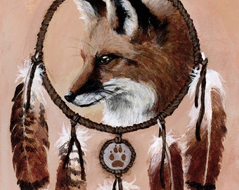 Native American Shaman Fox Medicine Wheel art print - Brandy Woods