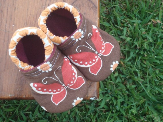 LAST PAIR - Baby Shoes for Girls w/ Butterflies - Red, Orange and Brown - Custom Sizes 0-18 months