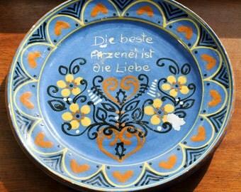 German Ceramic Decorative Plate, Creamer, and Sugar Bowl with Lid