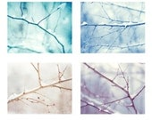 Winter Photo Set, Four Christmas Photographs, holiday decor snow tree branches wall prints photography nature aqua blue purple white cream