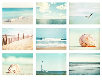Beach Photo Set - 9 11x14, 8x10, 5x7 Photographs, beach photography ocean sea print set seashore wall art light blue teal pale cream white