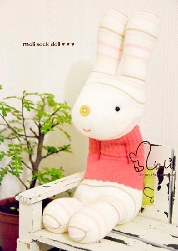 "Mali Sock Doll, Sock Rabbit, White Bunny in Hot Pink Sweater, ""Little Pinky"""