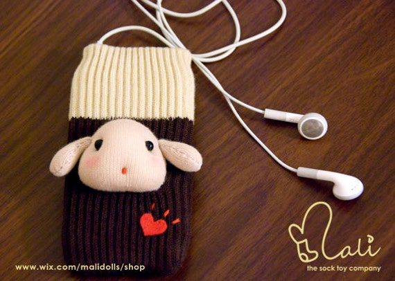 iPhone Cases, Sock Phone Case for iPhone/iPod Touch/Cellphones, Beige Marshmallow Puppy Sock Doll on Brown Sock Cozy
