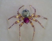 Medium size beaded spider, purple and yellow beaded spider, beaded spider, spider, 3 inch spider, sesame jasper