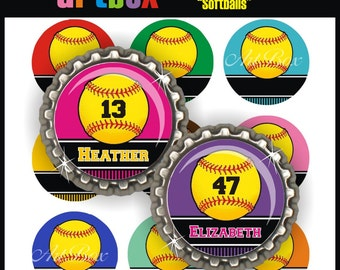 Editable Softballs Bottle Cap Images - 4x6 Digital Jpeg Collage Sheet - One Inch Circles for Pendants, Hair Bows, Badge Reels, Magnets