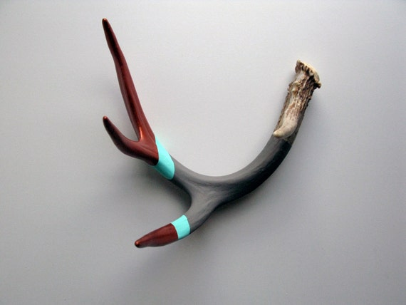 Copper, Aqua & Gray Striped Painted Antler - Medium
