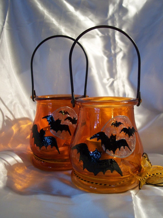 BATS, Bats and more bats - Samhain / Halloween Candle Lanterns (set of 2) LAST ONE -  s&h Included
