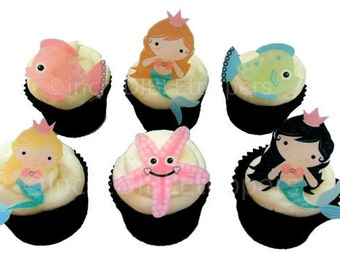 Mermaid Cupcake Toppers and Cake Decorations, Edible Image, Under The Sea Mermaid Birthday Party, Mermaid Cupcakes