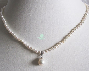 Pearl Necklace - 15 inch White Freshwater Pearl Necklace for Children - Free shipping