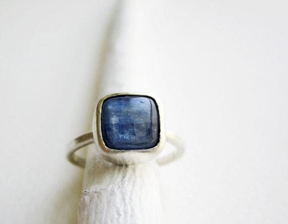 Square Kyanite Silver Ring