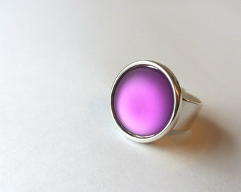 Purple Power Ring - glowing purple dome ring with adjustable silver band