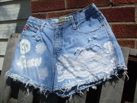 Gypsy boho Lace shorts Shabby chic hippie upcycled vintage high waisted