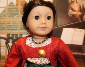 American Girl 1812 dress, coat, necklace