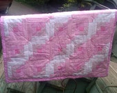 Pink and White Hand Tied Baby Girl Quilt