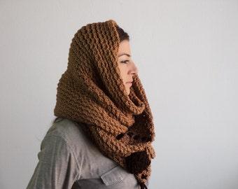 Beige Knitting Cowl - Knitting Chunky Cowl - Light Brown Neckwarmer - Light Brown Circle Scarf, ready to ship