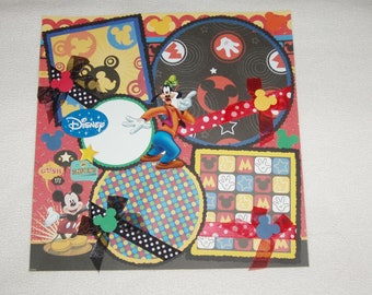 Disney Mickey Mouse Goofy Donald Pluto Memories 12x12 Premade Scrapbook Page by KARI