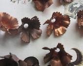 10 Vintage Copper  Fringed Petal Metal Flower