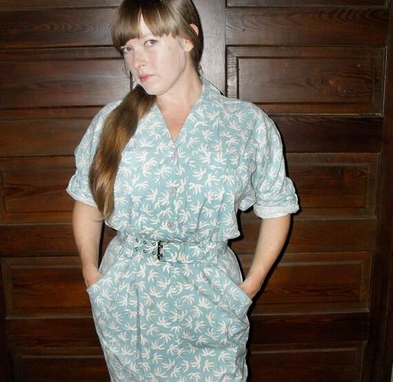 Cotton Palm Tree Print 1980s Shirt Dress Button Top Wiggle Skirt