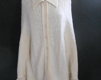 SALE 60s Collared FRINGED Poncho / Button Up Sweater Cape