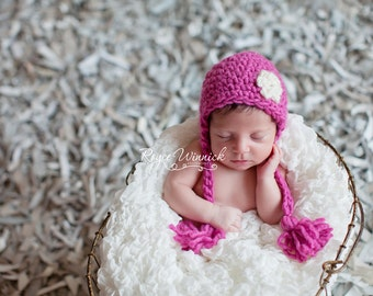 Flower Earflap with Tassels Crocheted Hat  Photography Prop Newborn 0-3 months 3-6 months