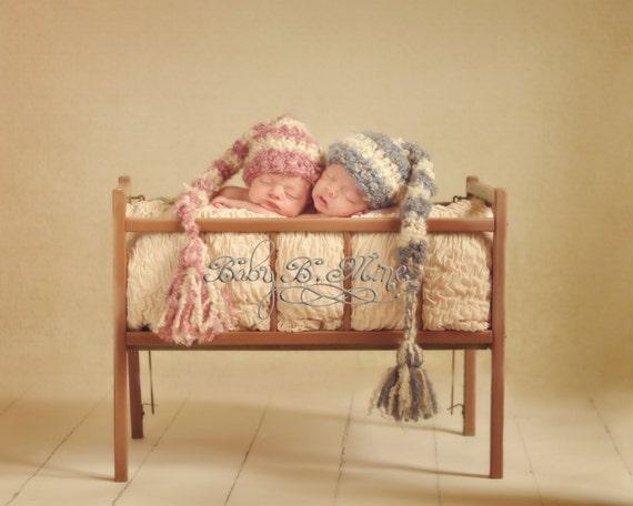 2 Striped Long Tail Elf Hats Baby Newborn Crochet Photography Prop