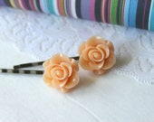Rose Cabochon Bobby Pin in Peach