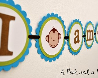 "Blue and Green ""I am one"" Boy Monkey High Chair Banner - First 1st Birthday"