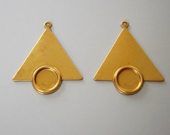 Raw Brass Stamping Geometrical  Triangle Pendant  1 Hole.