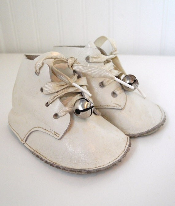1940's Handmade White Leather Baby Shoes