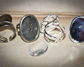 12 KITS  GREAT Quality Oval Ring Base Blanks and Glass Cabochons Adjustable size (18x25mm  inside ) Lead and Nickel Free