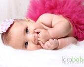 Baby Headband - Newborn Headbands - Pink Party Polka Dot Shabby Chic Rosette Skinny Headband - Baby Photography Prop Baby Girl Headbands