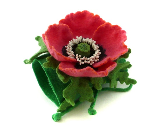 Felted bracelet cuff with flower hot pink poppy (Special order for Priscilla)