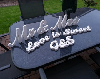 Wooden Wedding Table Decoration Package 4 - Mr & Mrs, Love is Sweet, Initials, colours to match your big day, various finishes