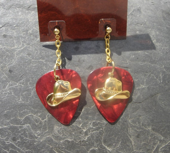 Golden Cowboy Hat Red Guitar Pick Earrings
