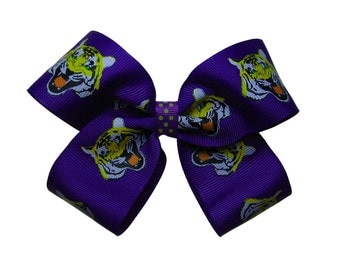Large Tigers Purple Hair Bow