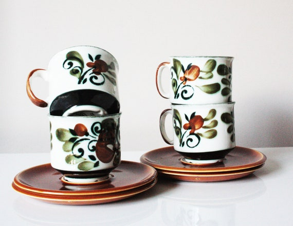 Vintage - Set of 4 cups and saucers - serie Argenteuil made by Boch Belgium