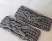 Hand-knitted Grey Fingerless Gloves Mittens Arm Warmers with Beautiful Ornament