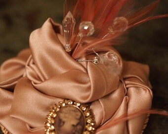 Valentine's Day, Pink Punch, dusty rose, satin, cameo, crystals, feathers, fascinator, hat, headpiece.