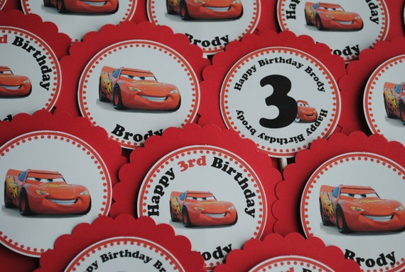 Cars Theme - Lightning McQueen Cupcake Toppers