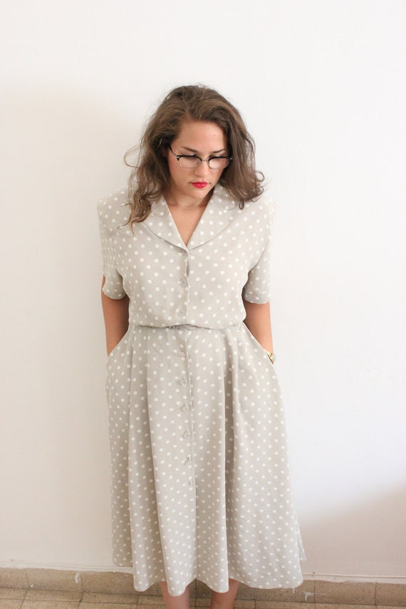 Pale Grey and White Polka Dot Dress With pockets Large XL