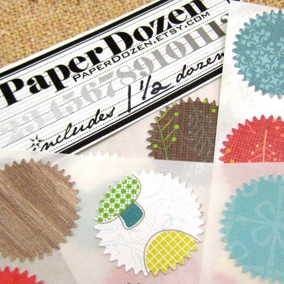 Envelope Seals / Gift Wrap Stickers / Dollar Sale- Small Stickers (Eco - Green Collection) 1 1/2 Dozen