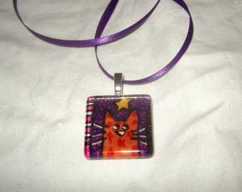 Curious cat fabric glass scrabble tile pendant ooak rare 1997 graphic cartoon cat colorful