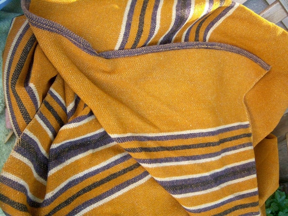 "Vintage wool cabin blanket // striped // caramel eggplant white // heavy weight // 86"" x 72"""