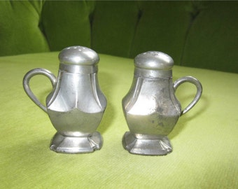 Vintage Squared Pewter Salt and Pepper Shakers