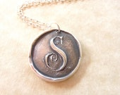 Mother's day monogram initial wax seal necklace pendant jewelry made from fine silver, custom made to order