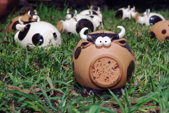 S A L E How Now Brown Cow Ceramic Piggy Bank