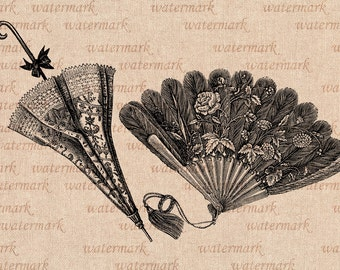 Hand fan and sun umbrella Victorian time  -  Digital Image Download Sheet, Transfer To Pillows ,Burlap Bag, or Print on paper 005