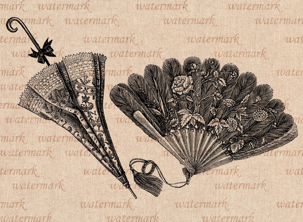 hand fan and sun umbrella victorian time digital image